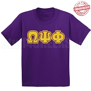 Omega Psi Phi Triple-Layered Letters T-Shirt, Purple - EMBROIDERED with Lifetime Guarantee