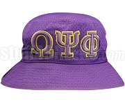 Omega Psi Phi Greek Letters Floppy Bucket Hat with Founding Year, Purple (NS)