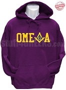 Omega Psi Phi/Mason Square and Compass Sweatshirt, Purple - EMBROIDERED with Lifetime Guarantee