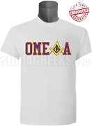 Omega Psi Phi/Mason Square and Compass T-Shirt, White - EMBROIDERED with Lifetime Guarantee
