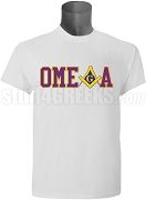 Omega Psi Phi/Mason Square and Compass T-Shirt, White