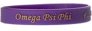 Omega Psi Phi Silicon Wristband with Organization Name, Purple