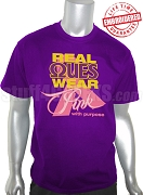 Omega Psi Phi Pink Ribbon Breast Cancer Awareness T-Shirt, Purple - EMBROIDERED with Lifetime Guarantee