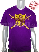 QFL (Omega For Life) T-Shirt, Purple - EMBROIDERED with Lifetime Guarantee