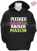 Omega Psi Phi Raised Mason Hoodie Sweatshirt, Black - EMBROIDERED with Lifetime Guarantee