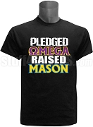 Omega Psi Phi Raised Mason Screen Printed T-Shirt, Black