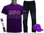 Omega Psi Phi Sports Package - INCLUDES ATHLETIC PANTS, PERFORMANCE SHIRT, LIGHTWEIGHT HAT & EARBUDS