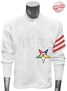 Order of the Easter Star Fatal Star Cardigan, White/Red
