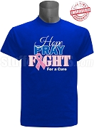 Phi Beta Sigma Hope, Pray, Fight Breast Cancer Awareness T-Shirt, Royal Blue - EMBROIDERED with Lifetime Guarantee