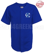 Phi Beta Sigma Cloth Baseball Jersey with Crescent Moon and Stars Icon, Royal Blue (TW) - EMBROIDERED WITH LIFETIME GUARANTEE