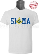 Phi Beta Sigma/Mason Square and Compass T-Shirt, White - EMBROIDERED with Lifetime Guarantee