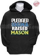 Phi Beta Sigma Raised Mason Hoodie Sweatshirt, Black - EMBROIDERED with Lifetime Guarantee