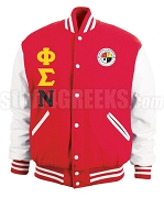 Phi Sigma Nu Varsity Letterman Jacket with Greek Letters and Crest, Cardinal Red/White