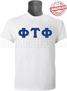 Phi Tau Phi Men's Greek Letter T-Shirt, White - EMBROIDERED with Lifetime Guarantee