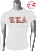 Pi Kappa Delta Ladies Greek Letter T-Shirt, White - EMBROIDERED with Lifetime Guarantee