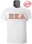 Pi Kappa Delta Men's Greek Letter T-Shirt, White - EMBROIDERED with Lifetime Guarantee