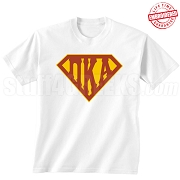 Pi Kappa Alpha T-Shirt with Letters Inside Superman Shield, White - EMBROIDERED with Lifetime Guarantee