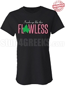 Flawless Alpha Kappa Alpha Fitted T-Shirt, Black - EMBROIDERED with Lifetime Guarantee