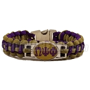 Omega Psi Phi Braided Sports Bracelet, Old Gold/Purple