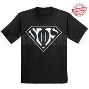Swing Phi Swing T-Shirt with Greek Letters Inside Superman Shield, Black - EMBROIDERED with Lifetime Guarantee