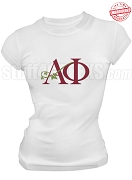 Alpha Phi Ivy Logo Stitched T-Shirt, White - EMBROIDERED with Lifetime Guarantee