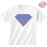 Theta Nu Xi T-Shirt with Letters Inside Superman Shield, White - EMBROIDERED with Lifetime Guarantee