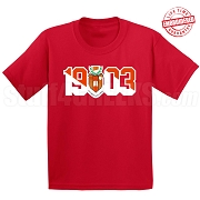 Sigma Alpha Iota T-Shirt with Crest and Founding Year, Red - EMBROIDERED with Lifetime Guarantee