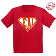 Sigma Alpha Iota T-Shirt with Letters Inside Superman Shield, Red - EMBROIDERED with Lifetime Guarantee