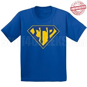 Sigma Gamma Rho T-Shirt with Letters Inside Superman Shield, Royal Blue - EMBROIDERED with Lifetime Guarantee
