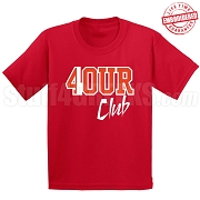 4/Four Club T-Shirt, Red/White - EMBROIDERED with Lifetime Guarantee