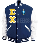 Sigma Chi Varsity Letterman Jacket with Crest and Greek Letters, Navy Blue/White