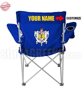 Sigma Gamma Rho Crest Lawn Chair with Choice of Text, Black - EMBROIDERED WITH LIFETIME GUARANTEE