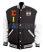 Sigma Iota Alpha Varsity Letterman Jacket with Crest and Greek Letters, Black/White