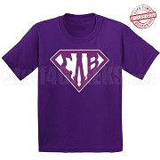 Sigma Lambda Beta T-Shirt with Letters Inside Superman Shield, Purple - EMBROIDERED with Lifetime Guarantee