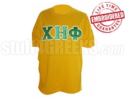 Chi Eta Phi Green Greek Letter with White Outline T-Shirt , Yellow - EMBROIDERED with Lifetime Guarantee