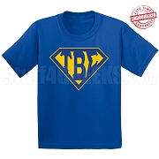 Tau Beta Sigma T-Shirt with Letters Inside Superman Shield, Royal Blue - EMBROIDERED with Lifetime Guarantee
