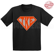 Tau Kappa Epsilon T-Shirt with Letters Inside Superman Shield, Black - EMBROIDERED with Lifetime Guarantee