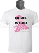 Pink Ribbon Breast Cancer Awareness Screen Printed T-Shirt, White