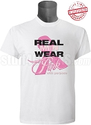 Pink Ribbon Breast Cancer Awareness T-Shirt, White - EMBROIDERED with Lifetime Guarantee