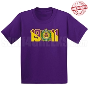 Omega Psi Phi T-Shirt with Crest and Founding Year, Purple - EMBROIDERED with Lifetime Guarantee