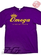Omega King of Frats T-Shirt, Purple - EMBROIDERED with Lifetime Guarantee