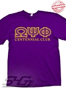 Omega Centennial Club T-Shirt, Purple - EMBROIDERED with Lifetime Guarantee