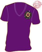 Omega Shield V-Neck T-Shirt, Purple - EMBROIDERED with Lifetime Guarantee