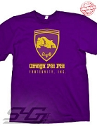 Omega Psi Phi Ferrari-Style Logo, Purple T-Shirt - EMBROIDERED with Lifetime Guarantee