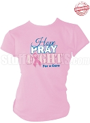 Zeta Phi Beta Hope, Pray, Fight Breast Cancer Awareness T-Shirt, Pink - EMBROIDERED with Lifetime Guarantee