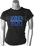 Zeta Phi Beta Greek Letter Metallic Stone Stud T-Shirt with Founding Year, Black