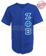 Zeta Phi Beta Greek Letter Cloth Baseball Jersey, Royal Blue (TW) - EMBROIDERED WITH LIFETIME GUARANTEE