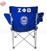 Zeta Phi Beta Crest Lawn Chair with Greek Letters, Royal Blue - EMBROIDERED WITH LIFETIME GUARANTEE