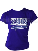 Zeta Phi Beta Greek Letter Tail Patch T-Shirt, Royal Blue (NS)
