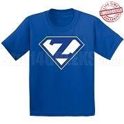Zeta Phi Beta T-Shirt with Letters Inside Superman Shield, Royal Blue -  EMBROIDERED with Lifetime Guarantee